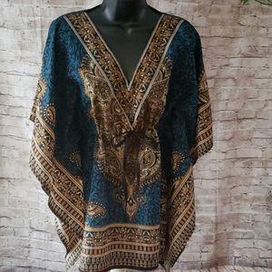 Tops - Dashiki print kaftan blouse
